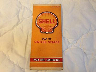 1940 - 1941 Vintage Collectible SHELL Map of United States Guide Automobile RARE