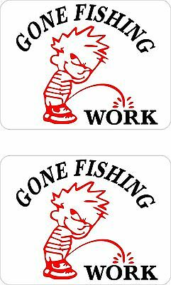 GONE FISHING Stickers TWO (2) 100 x 75 mm