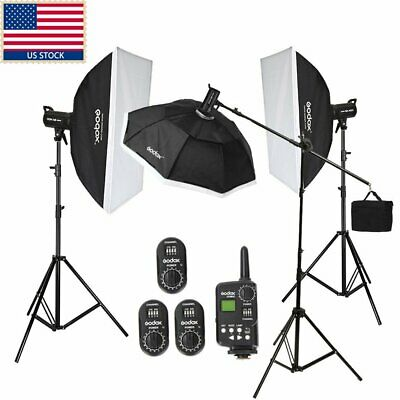 1200w Godox 3 x SK400 Studio Strobe Flash Light Bowen Mount Softbox Trigger Kit