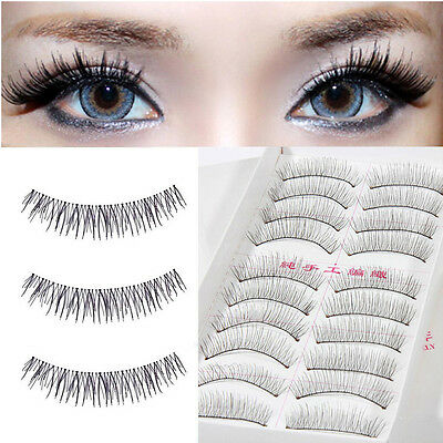 Natural Long Black Handmade 10 Pairs Thick Makeup Fake Eyelashes False Lashes