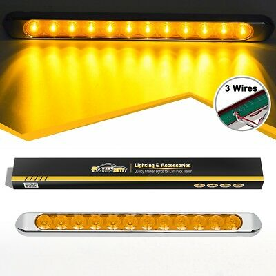 "Submersible Amber 17"" 12LED Marker Light Bar Stop Turn Signal Tail w/Chrome Base"