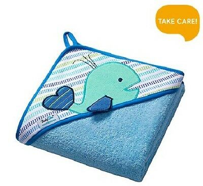 Extra LARGE 100cmx100cm Terry Hooded Baby Towel Bath Wrap 100%Cotton, Blue Whale