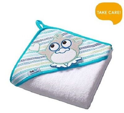 Extra LARGE 100cmx100cm Terry Hooded Baby Towel Bath Wrap Cotton, White Penguin