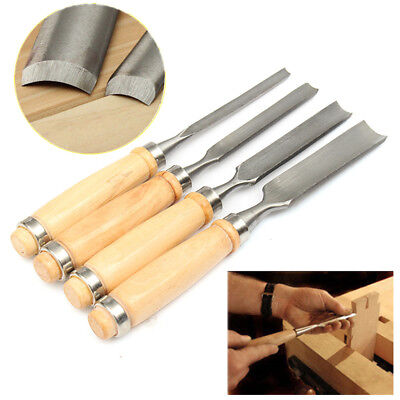 4Pcs Wood Carving Roughing Gouges Chisels Set Hand Woodworking Professional Tool