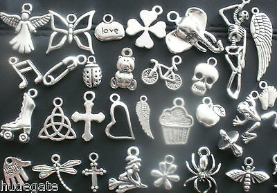 10 Silver Tone Pendant Charms for Necklaces Wholesale Jewellery Job Lot