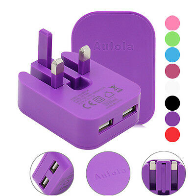 2A Dual USB UK Mains Wall 3 Pin Plug Charger For iPhone 5 6 6S Samsung HTC Phone