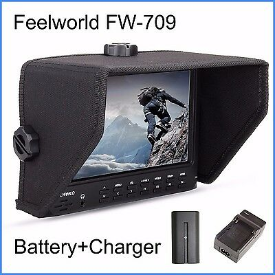 "Feelworld FW-709 7"" 1024x600 IPS HD On-Camera Field Monitor + Battery + Charger"