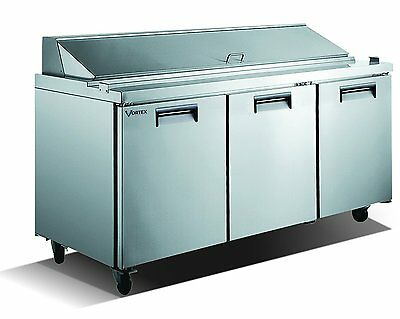Vortex Refrigeration 3 Door Sandwich Prep Table V-72SPT-3-18
