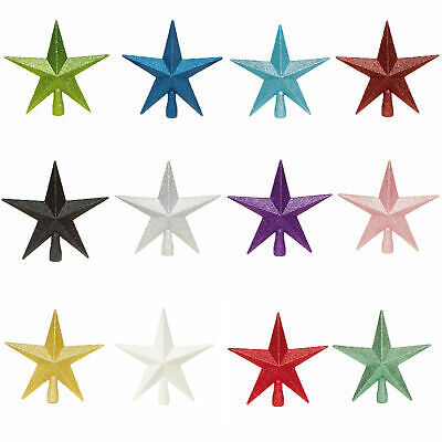 Christmas Tree Topper Decoration 200mm Shatterproof Glitter Star - 12 Colours