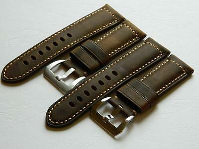 """Handmade Tanned Genuine Calf Leather Watch Strap Vintage """"MUSTANG"""" 24mm"""