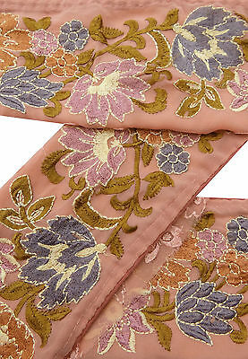 Vintage Indian Sari Border Used Embroidered Trim Sarong Salmon Ribbon Lace 1YD