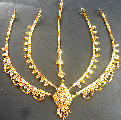 South Indian 22K Gold Plated 5 Lines Maang Tikka Wedding Head Jewelry Bridal b