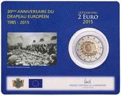 """2015 Luxembourg 2 euro comm. coin 30th European Union Flag"""" new in coincard"""