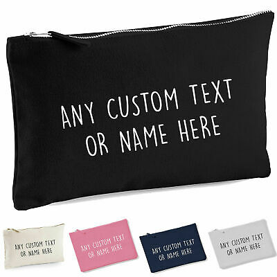 Personalised Pencil Case Make Up Bag Custom Text School Kids Birthday Gift NEW