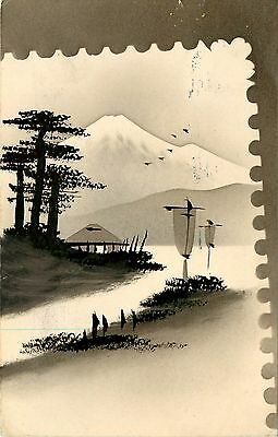 1912 Japanese Art Postcard Ink Wash Mt. Fuji Boats Trees House on Water's Edge