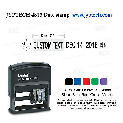 Trodat 4813 Self Inking Rubber Date Stamp w. One Line Custom Text