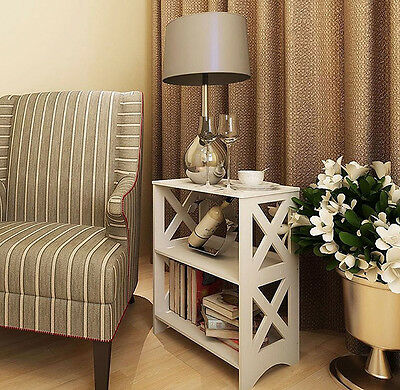 Small End Table Living Room Unit Modern Side Coffee White Bookcase Stand Storage