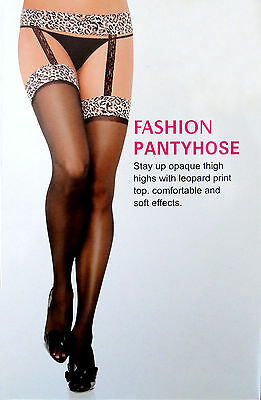Fashion Lady's  Lace Top Sheer Thigh-High Stockings, Black, One Size