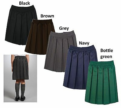 Girls Elasticated All Round School Skirt Kids Uniform Box Pleated Skirt