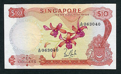 RARE 1967 Bank of Singapore $10 Banknote Orchid Series No Seal P-3a XF/AU
