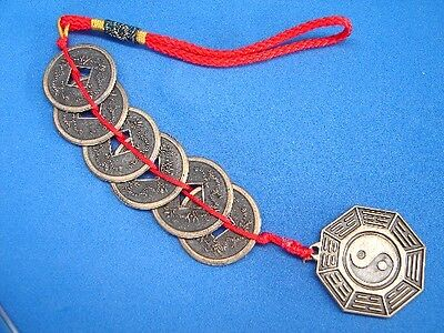 Feng Shui 6-Coin Chinese Lucky Money Charm with Yin Yang