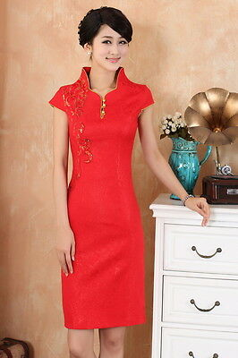 Women Chinese Dress Qipao Cheong-sam Wedding Bridal Maid Holiday Party  Red Lace