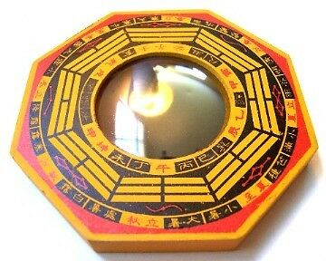 """6"""" Thick Wood Feng Shui Concave Bagua Mirror"""