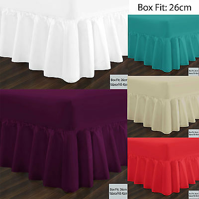 Plain Dyed Fitted Valance Sheets Polycotton Bed Sheet Single Double & King Sizes
