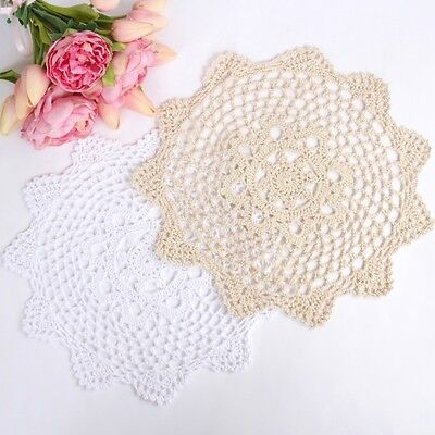 Crochet doilies white and cream 28-30 cm for millinery and crafts