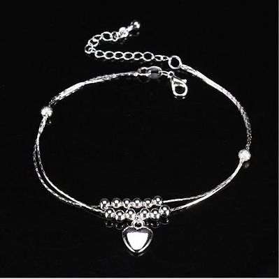 AU 925 Silver Stamped Fashion Love heart Cute Beads Elegant Anklet