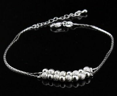 925 Sterling Silver Stamped Fashion Beads Double Chain Elegant Anklet lv1 Gift