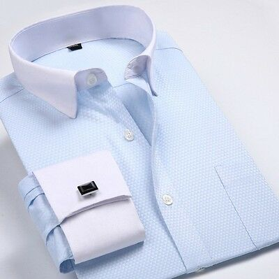 Mens Long Sleeves French Cuff Shirts Formal Business Dress With Cufflinks EU6347