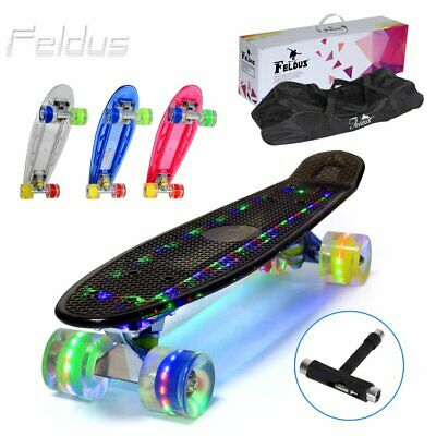 "Feldus 22"" LED Skateboard Retro Board Pennyboard Mini Cruiser m. LED Rollen/Deck"