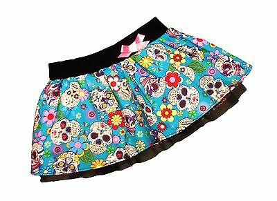 Blue Baby Mexican Sugar Skull Print Skirt, Punk, Rock, Goth Rockabilly All Sizes