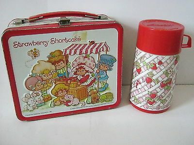 Strawberry Shortcake Metal Lunch Box & Aladdin Thermos Vintage 1981