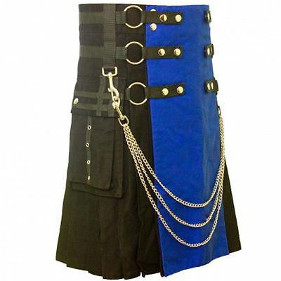 Men Blue and Black Modern Utility kilt with Chrome Chain 100% Cotton Handmade
