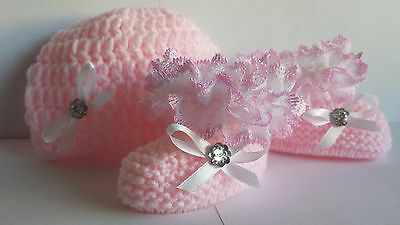 Baby Girls Hand Knit / Crochet Hat & Booties - Lace- Bow - Pink Eb - 3-6 Months