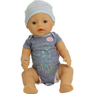 set blue Doll Clothes+hat Wearfor 43cm Baby Born zapf (only sell clothes )