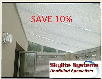 *Sale* Conservatory Pleated Lean To Roof Blinds Save 10% On Cream White Beige