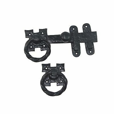 Antique Look Colonial Ring Latch Designed for Wood Gates, Doors - Black