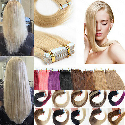 "Skin Weft Tape In 100% Remy Human Hair Extensions 20 pieces 16""18""20""22""24""26"""