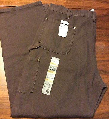 Carhartt Washed Duck Double Front Work Dungaree Pants 42 X 32 Brown New