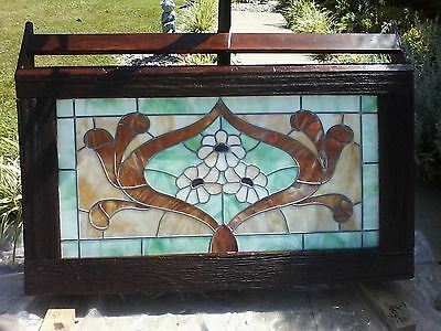 Georgous Stained Glass Window--Framed in Antique Barn Wood