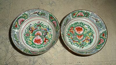 """2 Y.t. Canton Medallion Rose 4 1/2"""" Rice Bowls Hand Decorated Made In Japan"""