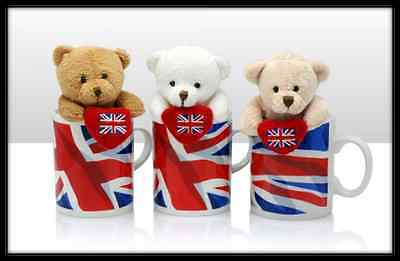 Soft Bear with Heart in Union Jack Mugs British Flag(Assorted)
