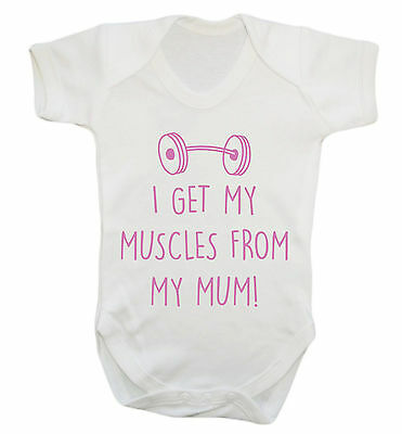 Get my muscles from mum baby vest grow workout sweat squat gym lift weights 2943