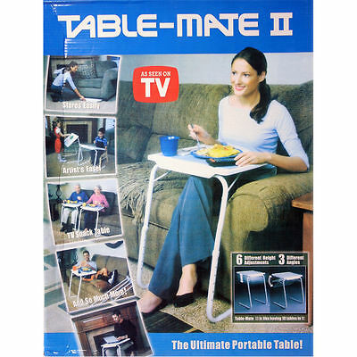 2 x PORTABLE TABLE MATE ADJUSTABLE FOLDING TABLE MATE