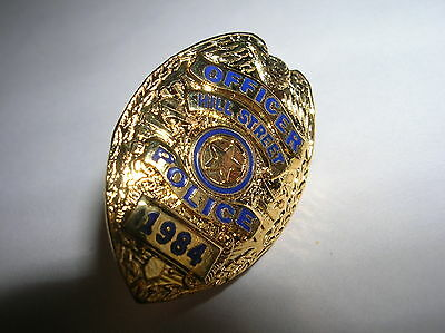 "HILL STREET 1984 Gold Tone NEW Mini  Police Officer 1"" Badge PIN Tie Tac UNIQUE"