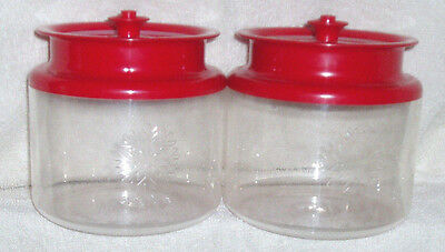 Vtg~2 TUPPERWARE Counterparts II Acrylic Containers~3 3/4c~Red~Snowflake Emblem