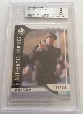 2012 SP Authentic Rookie Golf #81 Bubba Watson /999 ~~ BGS 9 MINT